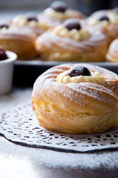 The BEST recipe for Zeppole or St. Joseph's Pastries - traditional Italain cream filled pastries for Fathers Day. Top-of-the-world-delicious!! #zeppole #italianpastry #stjospehpasty #creamfilledpastry #italiandesserts