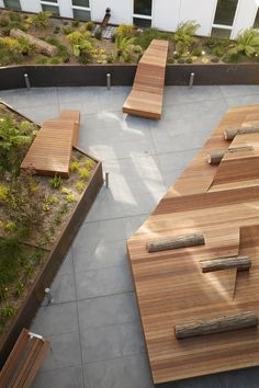 """The """"flotilla"""" seating activates the Pacific Pointe Apartments courtyard. Concept Models Architecture, Garden Architecture, Architecture Design, Urban Furniture, Street Furniture, Urban Landscape, Landscape Design, Garden Design, Modern Landscaping"""