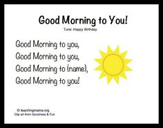 Good Morning Songs to begin a day. These songs, chants, and rhymes are a great way to build community in the classroom and fun way to start the day. Kindergarten Songs, Preschool Music, Preschool Classroom, Preschool Learning, Preschool Good Morning Songs, Montessori Elementary, Goodbye Songs For Preschool, Circle Time Ideas For Preschool, Name Songs