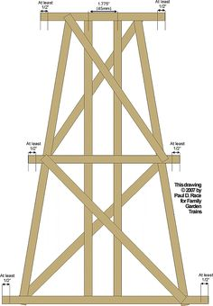 This diagram shows how the sway braces are fastened to leave space on the sills for the cross-pieces. Garden Railroad, Railroad Bridge, Ho Scale Train Layout, Model Train Layouts, Escala Ho, Ho Scale Buildings, Model Railway Track Plans, N Scale Trains, Hobby Trains