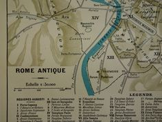 """Antique map of Rome - original 1902 old vintage print poster about modern R. and Roma in antiquity - city plan de ville Rom 23x31c 9x12"""" by DecorativePrints on Etsy"""