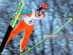Akira Higashi competes in the Ski Jumping STV Cup at Okurayama Jump Stadium on January 14 2007 in Sapporo Hokkaido Japan
