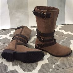 "DV by Dolce Vita girls Sassie Boot NWOT DV Sassie suede boot in tan color, with adjustable straps, side zipper and 7"" shaft. In size 2 for girls. Never worn but 1 boot somehow has a little tiny, not noticeable mark in front. In great condition. No trades pls. DV by Dolce Vita Shoes Boots"