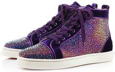 Christian Louboutin Louis Strass Swarovski purple velvet sneakers