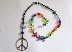 SOLD!!!! Rainbow Road Beaded Nose Ring Chain with Moon Beads and Peace Sign by DeadPoetAccessories on Etsy