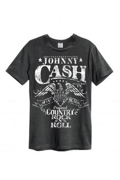be30c48c31f Amplified Johnny Cash Eagle Crew Neck T-Shirt Man Fashion