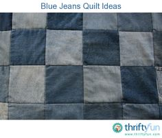 This is a guide about blue jeans quilt ideas. Recycling blue jeans into craft projects is a great way to reuse this sturdy fabric.