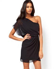 Black One Shoulder Chiffon Dress - Fashion Clothing, Latest Street Fashion At Abaday.com
