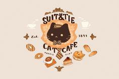 Cat Cafe Cover, an art print by Nadia Kim Cute Food Drawings, Cute Kawaii Drawings, Kawaii Art, Food Illustrations, Illustration Art, Cute Backgrounds For Iphone, Recipe Drawing, Cute Food Art, Cute Cafe
