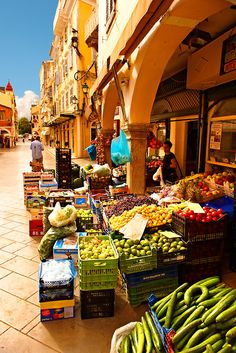 Fruit shop in Old Town Corfu, Greece.  Go to www.YourTravelVideos.com or just click on photo for home videos and much more on sites like this.