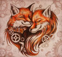 sketch of tattoo - Steampunk foxes by GreenAmb