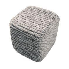 "Modern Gray Cube Shape Wool (16""x18""x18"") Pouf | Overstock.com Shopping - The Best Deals on Ottomans"