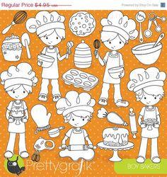 80% OFF SALE Baking boys digital stamp by Prettygrafikdesign