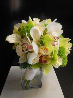 Tara's Bridal Bouquet with white callas and cymbidium orchids