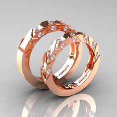 Modern Italian 14K Rose Gold Diamond Wedding Band by DesignMasters, $1929.00