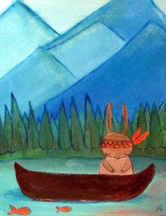 Woodland Nursery Rabbit in Canoe Kids Wall Art Small by andralynn, $50.00