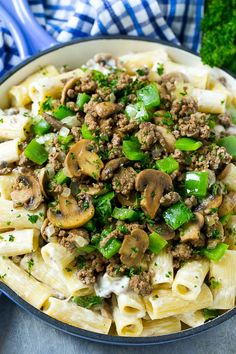 Philly cheesesteak pasta with ground beef, mushrooms and peppers. Salad Recipes For Dinner, Entree Recipes, Beef Recipes, Cooking Recipes, Healthy Recipes, Skillet Recipes, Steak Pasta, Easy Homemade Pasta Recipe, Easy Pasta Recipes