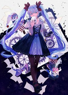Karakuri Pierrot Wallpaper & Fanart || Hatsune Miku | からくりピエロ | Mechanical Clown | Clockwork Clown | Blue Hair Anime Girl Clown