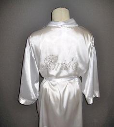 Bride Robe Honeymoon White Satin with by TheLittleBridalShop, $42.00