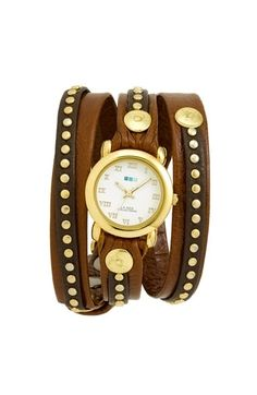 La Mer Collections 'Bali' Gold Studded Leather Wrap Watch | Nordstrom - StyleSays
