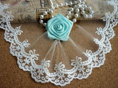 Lace Trims Off White Cotton Scalloped Bow by ILoveCraft2012, $2.99