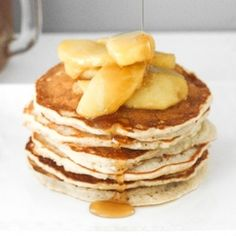 There is no better way to use up leftover applesauce than by making fluffy applesauce pancakes with caramel apple topping! It is the perfect fall breakfast!   aheadofthyme.com