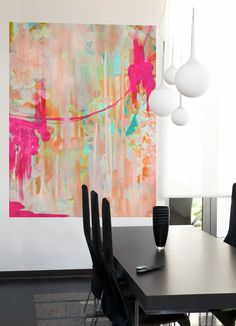 """""""Neon Jellyfish"""" Abstract Murals That Stick by Stephanie Corfee for GreenBox Art + Culture, size 54x72 $189"""