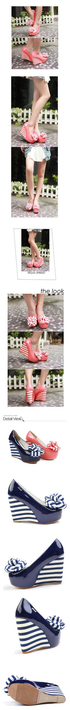 I never into pink...i still not ok with princess pink or shocking pink..but i became fine with fuchia, salem and peach...and i start wearing heels lately this shoes are cute [Circus Carnival Gothic Lolita Striped Puff Flower Platform High Heel Wedge Pink | eBay]