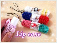簡単【リップケースの編み方】レース糸でかぎ針編み☆crochet lip case☆