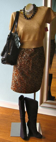 gold pattern vintage skirt, $15 Accomplice gold crop top, size M, $15 Necklace, $10 black wedge boots, sie 8, $17 Gryson for Target black purse, $14.