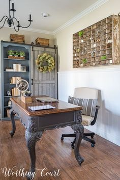 """An antique mail sorter becomes large scale """"art"""" in a farmhouse style home office 