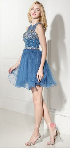 Enchanted 2016 Homecoming Dresses, Prom Dress, Blue A-line Scoop Knee-length Short Beading Prom Dress. Short/Mini A Line homecoming dress, 2016 homecoming dress. Find This Lovely Dress from GemGrace. Enjoy Free Shipping Today.