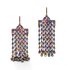 Solange Azagury-Partridge Chromantic chandelier earrings with fringes of candy-bright gems that drape down the neck - part of the Solange-curated Paddle8 auction, which runs from 5-19 May. Estimate: £12,000-£15,000. To bid now, follow the link in the article.