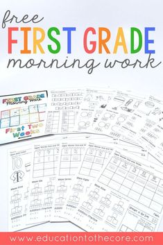 Freebie First Grade Morning Work sample for two weeks. These free printables are great to place in a binder or use as a packet for students. Includes 10 pages full of math, writing, language, literacy, and number sense activities. Make your back to school