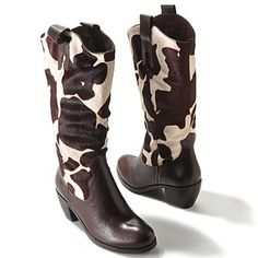 """Matisse® """"Bandido"""" Cow Print Calf Hair Leather Western Style Mid-Calf Boots  - 704-116"""