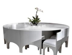Visionnaire Coliseum Luxury Italian Designer Dining Table in White Plane Tree Veneered Shiny Polyester Finish.