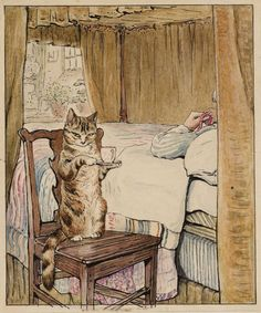 """""""Simpkin at the Tailor's Bedside"""", c. 1902 - Illustration by Helen Beatrix Potter for """"The Tailor of Gloucester"""", her second and favourite book - Ink, watercolour and gouache on paper Beatrix Potter Illustrations, Beatrice Potter, Peter Rabbit And Friends, Old Paintings, Vintage Cat, Cumbria, Children's Book Illustration, Cat Art, Illustrators"""