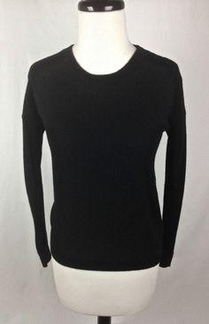 H&M Sweater Black Cashmere Long Sleeve Womens XS #HM #Crewneck