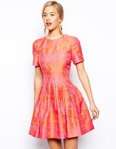 Bright Floral Jacquard Skater Dress<--I would wear the shit out of this!