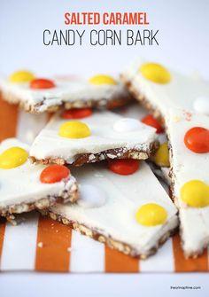 Salted caramel candy corn bark recipe ...so easy to make! Yum! #fall #halloween