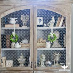 chicken-wire-cabinet #frenchdecor
