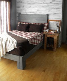 Platform Bed Platform Bed Queen Bed Headboard by JNMRusticDesigns