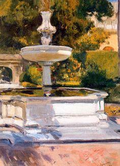 Surtidor. 1899. Óleo sobre lienzo. 70 x 53,5 cm. Abadía de Montserrat. Sorolla