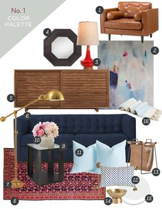 Mood Board No.1 by themadehome.com. Featuring a cranberry, red, and blue color palette with a West Elm Rochester sofa, Darrin leather chair, Room and Board Moro cabinet, brass accessories, persian rug.