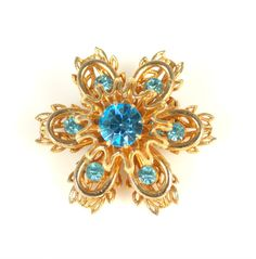 Vintage Coro Floral Rhinestone Pin Brooch by TheFashionDen on Etsy