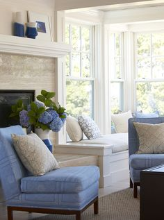 Soft blue traditional living