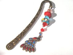 Peacock Beaded Bookmark Brass Book Hook Red And by @Sirius Krook  $12.00  http://www.etsy.com/listing/165472742/peacock-beaded-bookmark-brass-book-hook