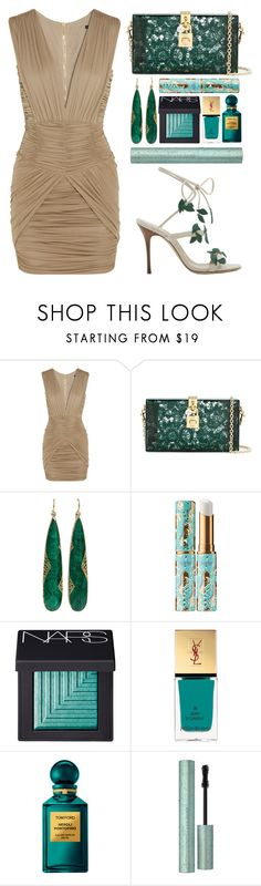 """#068"" by theevilraccoon ❤ liked on Polyvore featuring Balmain, Dolce&Gabbana, Yossi Harari, tarte, NARS Cosmetics, Yves Saint Laurent, Tom Ford and Too Faced Cosmetics"