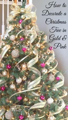 How To Decorate A Christmas Tree In Pink And Gold Feminine Ie Traditional