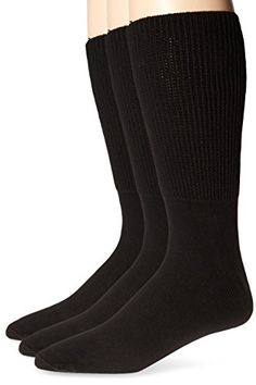 Extra-Wide Medical (Diabetic) Socks for Men (11-16 (up to 6E wide), Black) (pack of 3) >>> Details can be found by clicking on the image.